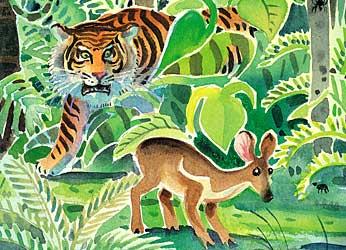 si harimau mengingkari janjinya untuk tidak memangsa si kancil