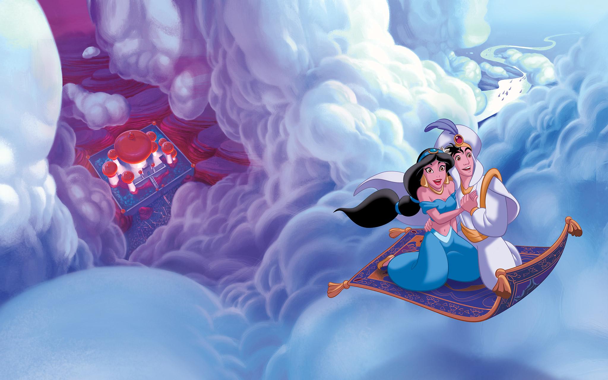 Aladin mengajak Putri Jasmin Terbang dengan Karpet ajaib
