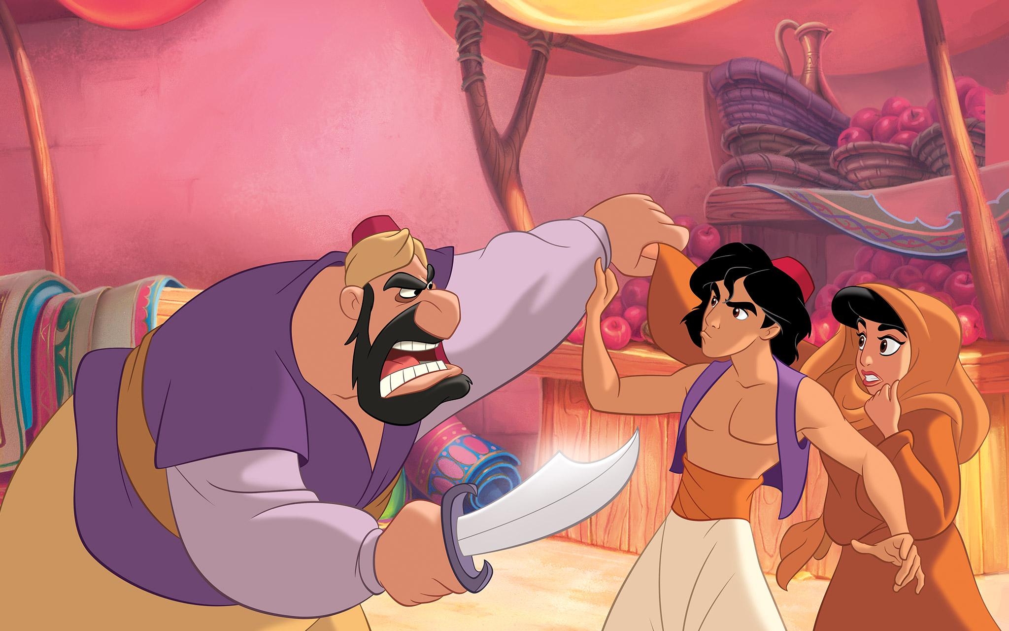aladin menolong putri Jasmine di pasar