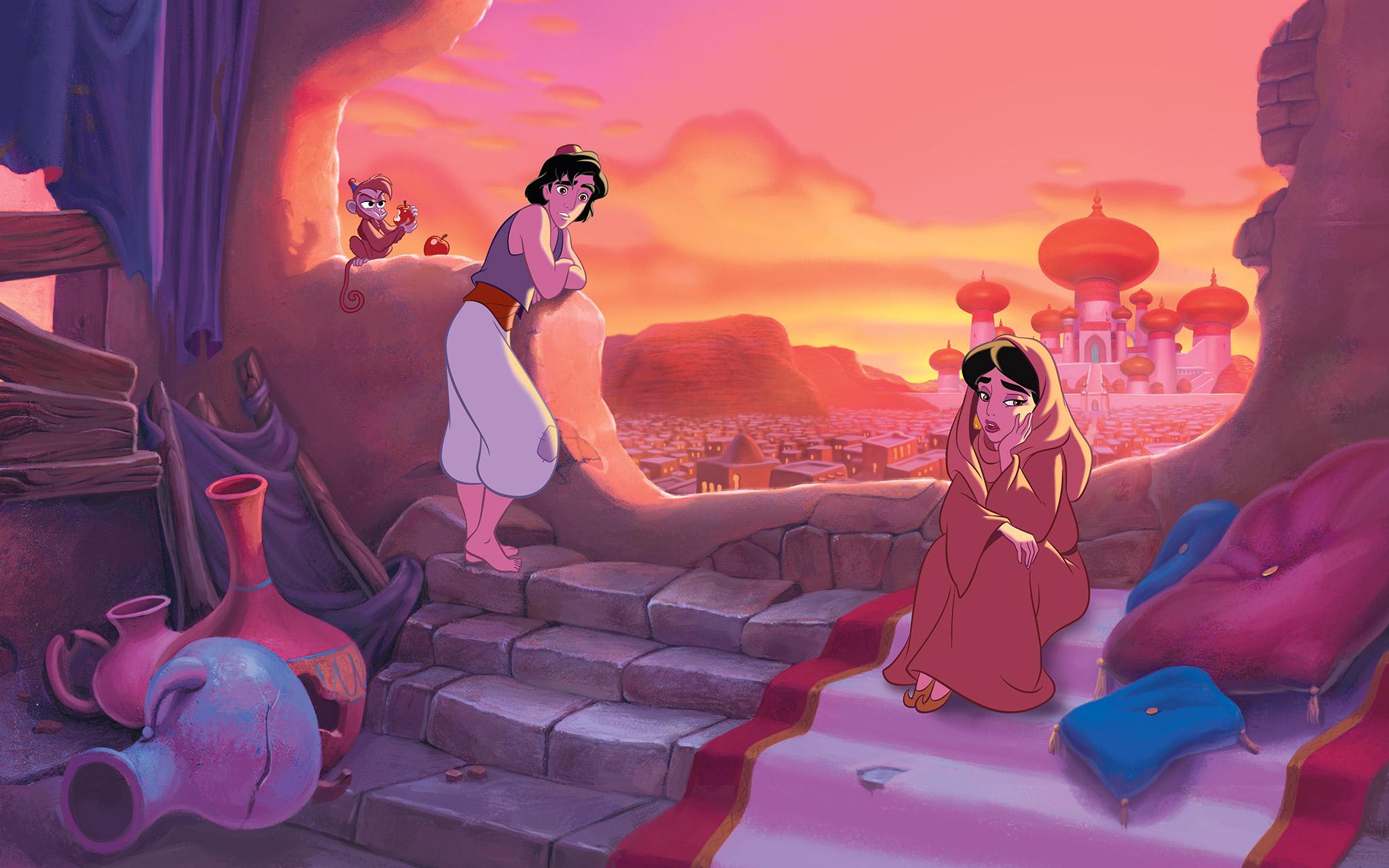 Aladin mengajak Putri Jasmin ke rumahnya