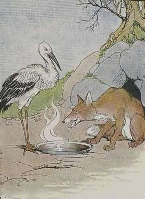 Dongeng Anak Bergambar Rubah dan Burung Bangau