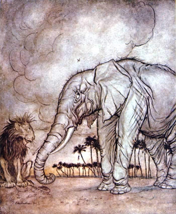 ringkasan cerita rakyat pendek singa dan gajah