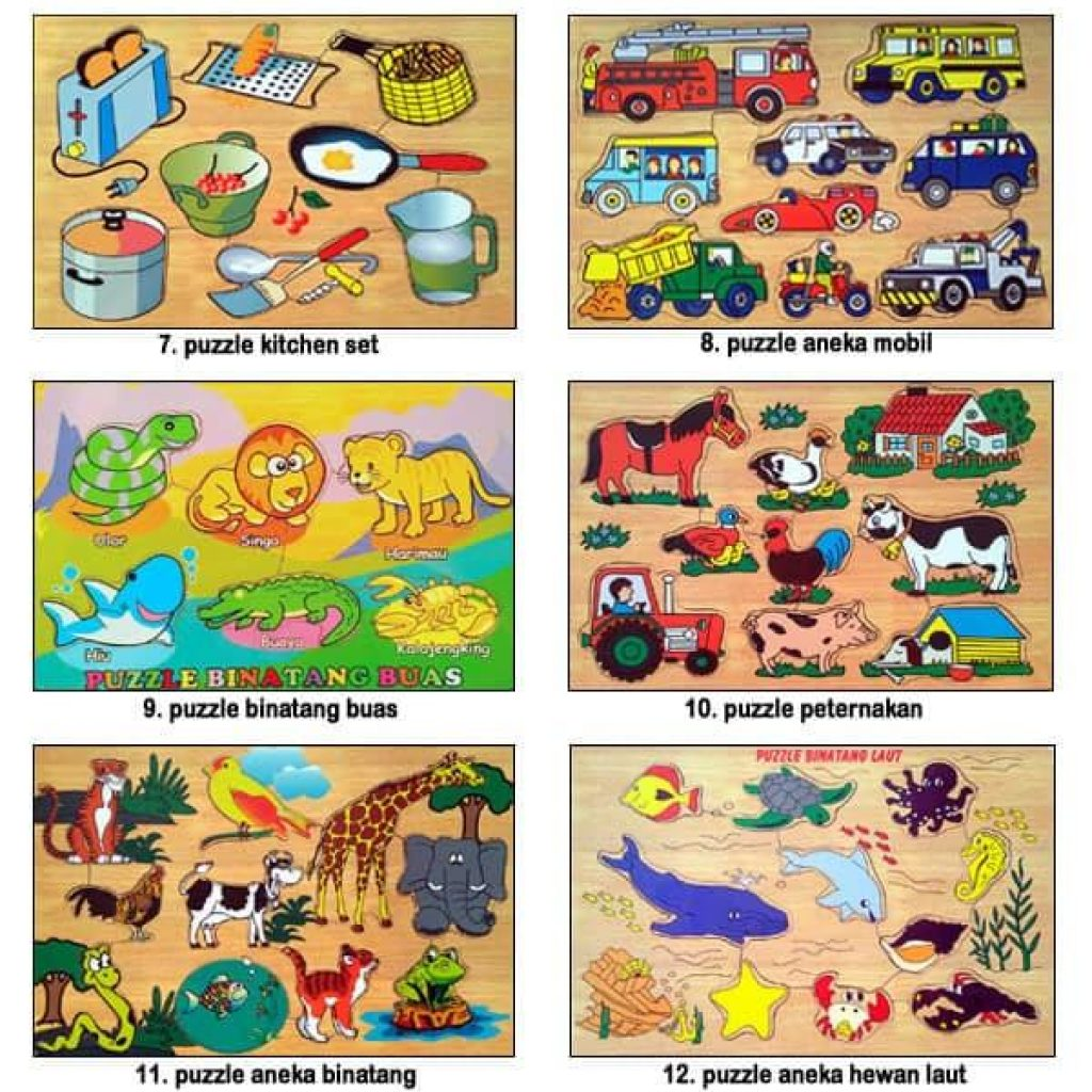 Mainan Anak Edukasi Kayu Puzzle Hewan dan Huruf