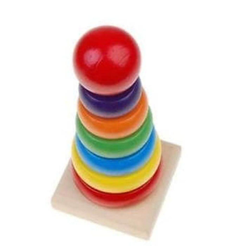 Mainan Edukasi Bayi 1 - 12 Bulan Kayu Rainbow Tower Ring Menara