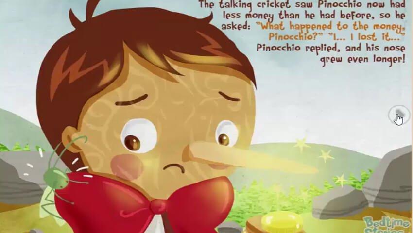 Pinokio berbohong pada belalang