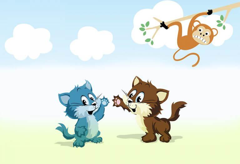 dua kucing dan monyet