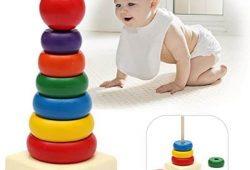 Mainan Edukasi Bayi 1 – 12 Bulan : Kayu Rainbow Tower Ring Menara